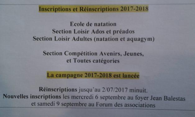 INSCRIPTIONS 2017 – 2018 : Ecole de natation
