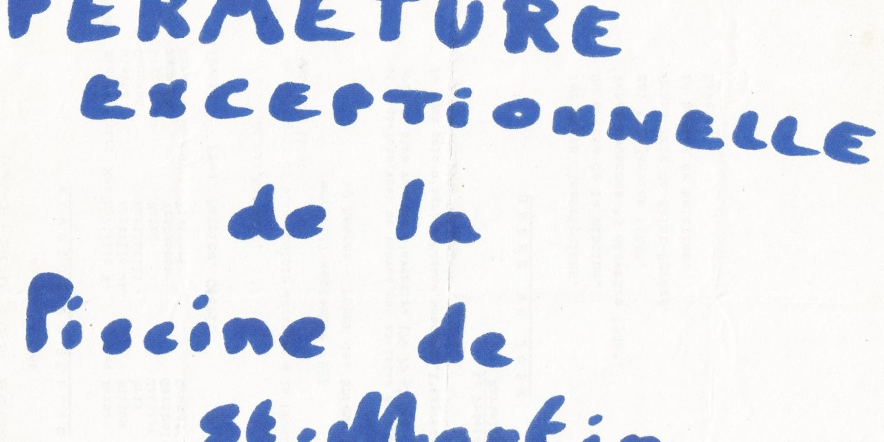 Fermeture exceptionnelle de la piscine de St-Martin le Vinoux du lundi 29 avril au vendredi 3 mai inclus